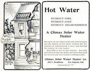 A circa 1890 advertisement for Climax Solar Water Heaters